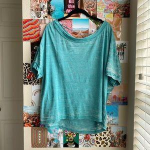 Free People Tee Acid Wash boat neck aqua tshirt